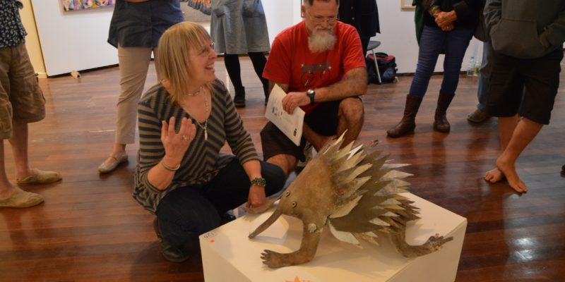 Peggy Rismiller introduces Eddy the Echidna at Kangaroo Island Easter Art Exhibition 2016